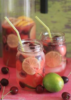 Bing Cherry, Lime, & Watermelon Sangria ~ 3 cups watermelon balls (or approx. ¾-inch chunks), 2 cups bing cherries, halved and pitted, 3 limes, thinly sliced, 1 lemon, thinly sliced, 1 750 ml bottle white wine (a dry-ish white wine is best – I like Sauvignon Blanc), ½ cup white rum, 4 cups lemon-lime soda