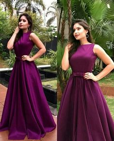 A Linha Long Purple Prom Formal Evening Party Dresses - Woman - Gowns Long Gown Dress, Lehnga Dress, The Dress, Frock Dress, Long Frock, Indian Wedding Gowns, Indian Gowns Dresses, Gown Party Wear, Party Gowns