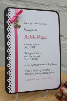 New Baby Shower invitations coming soon! To shop please visit http://www.etsy.com/shop/CraftedbyLizC?ref=si_shop