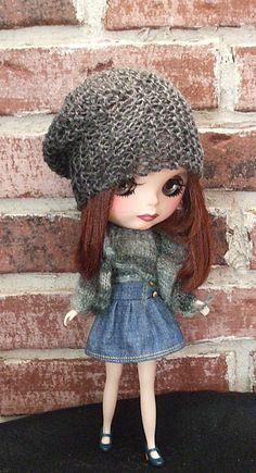 Grey Urban Knitted Chic Slouchie Hat for Blythe by Wymzeeknit