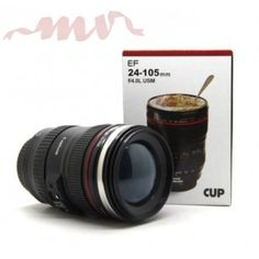 Creative EF lens Camera lens Cup for Coffee Creative stainless steel lens mugs with clear lid
