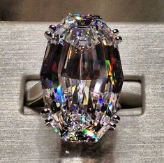 Jacob Co 36.43 ct oval diamond ring ~ what an incredible cut~ WoW Look at the colors reflecting in that cut!!