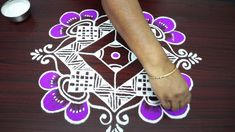 Navarathri Kolam for dots - very very easy colour rangoli designs - pooja muggulu 2018 -easy rangoli, simple rangoli, easy rangoli designs, t,Diwali special rangoli Colour Rangoli, Diwali Special Rangoli Design, Simple Rangoli, Rangoli Designs, Dots, Cards, Color, Stitches, Colour