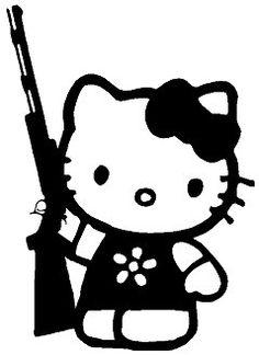 Hello Kitty with Rifle Gun Decal Sticker 8 Inch by Cafedecals, $7.00