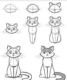 Hoe teken je een kat uit geometrische vormen? Stappenplan & DIY #Tekenen #StapVoorStap #Potlood #GeometricheVormen