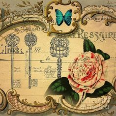 Vintage Skeleton Key Floral Shabby Chic Rose Butterfly Still Life Print By Cranberry Sky