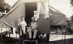 """Ray built and sewed canvas together to build a Gilkie trailer.  A """"Gilkie"""" is a pop-up camper that was manufactured by E.P. Gilkison & Sons in Terre Haute, Indiana from 1925 to 1952. It has been recognized as one of the first of its kind in the nation.  In 1922, Warren and Ray Gilkison designed and built a pop-up camper in their father's machine shop."""