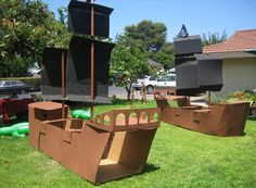 I like the boxes painted black as sails as well as the inflatable alligators.