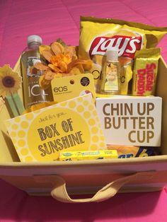 Box of Sunshine - anything yellow to cheer someone up or brighten someone's day!! #yellow #boxofsunshine #happy #gift