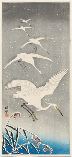 White Birds in Snow - Ohara Koson -Could be an intro to watercolor for my younger groups- collage a bird/ branches on top? this would tie in non-Western culture. Japanese Painting, Chinese Painting, Chinese Art, Art And Illustration, Ohara Koson, Art Chinois, Art Japonais, Japanese Prints, Japanese Love