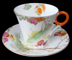 Shelley Art Deco Regent TreeOn Hill With Leaves Cup And Saucer 1930s Demitasse