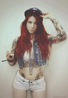 Tattoo #inked girl #redhair
