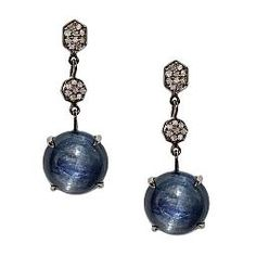 Emily Blue Kyanite Pendant Earrings accented by White Diamonds in Sterling Silver - Meredith Marks Designs #preciousstones #finejewelry #statementearrings