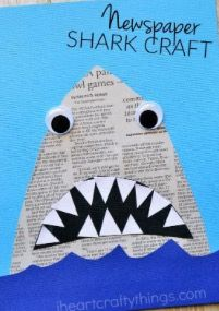 This newspaper shark craft for kids is amazingly simple to make and is great for kids of all ages so it makes a perfect activity for the whole family. # family activities for toddlers Newspaper Shark Craft