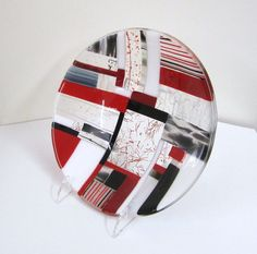 Quizzical Contemporary Fused Glass Bowl by JanuaryMayDesigns