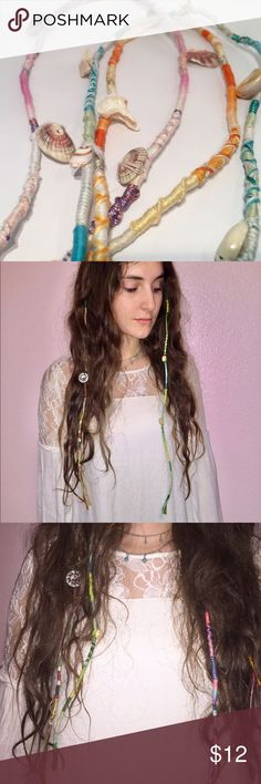 Customizable Hair Extensions (Hippy Boho Festival) This listing is for 2 Hair Extensions!  You choose the colors, beads or charms, and length (in) Instructions:  1. Put a small section of hair at through the loop on top of the extension (ear level is best)  2. Split the section of hair into 2  3. Begin to braid your hair keeping the loop close to the scalp, braid 2-3 inches down.  4. Secure with an elastic.  Tags: Hollister, Urban Outfitters, H&M, Patagonia, REI, Free People, Burning Man…