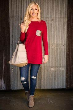 Pink Coconut Boutique | Give It Away Tunic/Top - Red