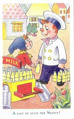 A Pint of Milk for Noddy ! Children's Book Illustration, Illustration Children, Book Illustrations, My Childhood Friend, Childhood Memories, Enid Blyton, Oui Oui, Kids Cards, Vintage Pictures