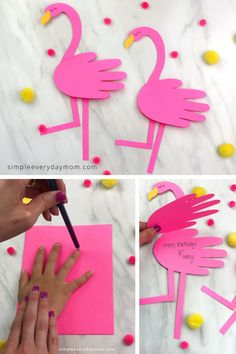 This easy handprint flamingo is a fun summer craft for kids to make! Download the free printable template and make with toddlers, preschool and elementary children. Make it at home or at school.  #simpleeverydaymom #summercrafts #kidscrafts #craftsforkids #handprintcrafts #papercrafts #preschoolcrafts #kindergartencrafts