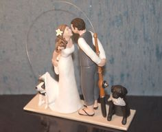Custom Wedding Cake Topper with Pets by SculptUCakeToppers on Etsy