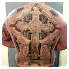 3D cross tattoo on full back.. Click on the pic for more tattoos
