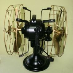 FAN-ELECTRIC-TABLE-VINTAGE-FANS-BLADE-METAL-BRASS-OSCILLATING-DOUBLE-SIDED