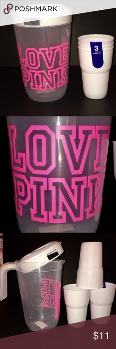 """NEW CUSTOM """"LOVE PINK """" PITCHER & 3 TUMBLERS. NEW CUSTOM MADE """"LOVE PINK """" PITCHER & 3 WHITE TUMBLERS. YOUR GETTING EVERYTHING SHOWN!  -9"""" PLASTIC , 2.2 QUART PITCHER WITH WHITE LID.  -3 PLASTIC 5"""" WHITE TUMBLER CUPS CHECK OUT MY OTHER LISTINGS $AVE ON BUNDLES! Jewelry Earrings"""
