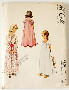 Girls Nightgown Pattern - Vintage McCall 7458 - Size 8 by ErikawithaK on Etsy Vintage Outfits, Vintage Girls, Vintage Fashion, 1940s Fashion, Vintage Clothing, Fashion Art, Vintage Style, Childrens Sewing Patterns, Vintage Sewing Patterns