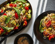 This soba noodle salad recipe with tomatoes, zucchini and ginger makes the most of summer produce - The Washington Post. (Tip: use Maruhon Toasted sesame oil for an authentic and bold flavor!) #pastasalad #summer #recipe #sesameoil #Maruhon Orzo, Noodle Salad, Pasta Salad, Fideos Soba, Sriracha, Soba Noodles, Asian Noodles, Vegan Main Dishes, Toasted Sesame Seeds