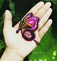 Butterfly brooch Handmade Beads embroidery