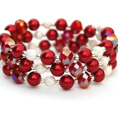 Sparkling Poppy Red Beads and Silver Beaded Memory by AMIdesigns, $20.00