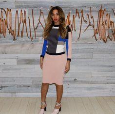876 Beyonce's Beyonce.com Jonathan Simkhai Striped Ribbed Mixed-Knit Colorblock Sweater and Blush Pink Rib Knit Pencil Skirt