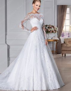 Custom made Vestido De Noivas A-line Lace Wedding dresses 2015 Full Sleeves Wedding gowns with Court Train alishoppbrasil