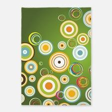 Green Retro Circles 5'x7'Area Rug for