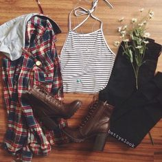 | Striped Halter Top | Black Jeans | Red White Blue Flannel | Brown Boots |