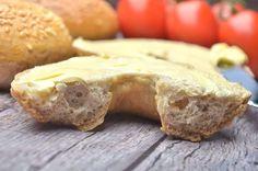 Puha, könnyű, lukacsos, laza szerkezetű, mellékízmentes paleo bagett recept       Nagyon-nagyon jól sikerült, ISZONYAT FINOM, puha Croissant, Paleo, Bread, Cookies, Desserts, Food, Crack Crackers, Postres, Biscuits