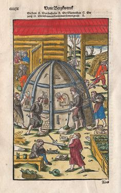 FIG. 39. Glass furnace, with workers. Georg Agricola (German, 1494–1555). In De re metallica [Berckwerck Buch, Frankfurt-am-Main, 1580, p. cccxc]. Rakow Research Library, The Corning Museum of Glass (66820). Photo: The Corning Museum of Glass.