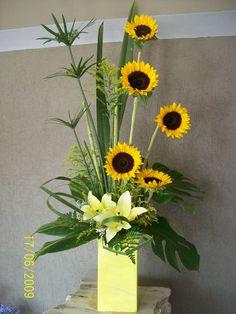 17 Best images about Contemporary Floral Designs on . Sunflower Floral Arrangements, Church Flower Arrangements, Church Flowers, Beautiful Flower Arrangements, Fall Flowers, Floral Centerpieces, Floral Bouquets, Beautiful Flowers, Purple Bouquets