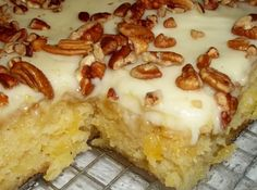 """THE ORIGINAL """"EASIEST PINEAPPLE CAKE"""" - Ingredients 2 c all purpose flour 2 c sugar 2 eggs 1 tsp baking soda 1 tsp vanilla pinch salt 1 – 20 oz can of crushed pineapple ( undrained ) in it's own juice – not syrup 1 c chopped nuts, optional CREAM … Easiest Pineapple Cake Recipe, Easy Pineapple Cake, Pineapple Recipes, Crushed Pineapple Cake, Pineapple Sheet Cake Recipe, Pineapple Frosting, Pinapple Cake, Pineapple Cupcakes, Cantaloupe Recipes"""