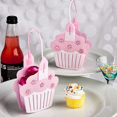 pink cupcake favor bags with velcro closure