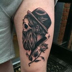How about a hipster skull. | 49 Bloody Brilliant Black And Grey Tattoo Ideas