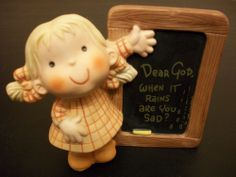 "Enesco DEAR GOD Kids ""WHEN IT RAINS..."" Girl Figurine, by Anne Fitzgerald. 1982"