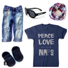 Love this flatlay with our Peace, Love, and Naps Graphic tee! #graphictee #style #kidsstyle #fashion #kidsfashion