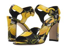 DOLCE & GABBANA.  When life gives you lemons, make the most fashionable lemonade possible with the refreshing and regal beauty of the Dolce & Gabbana® Sandalo Broccato. Printed textile upper. Made in Italy.