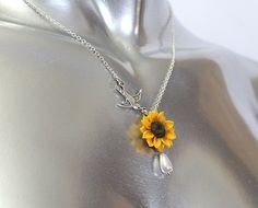 Sunflower Necklace - Sunflower Jewelry - Gifts - Yellow Sunflower Bridesmaid…