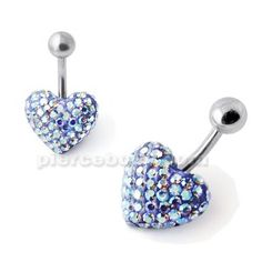 White And Blue Crystal Stone Heart Banana Bar Belly Ring - Piercebody