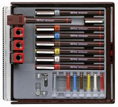rotring ink pens. I used these in architecture school drafting classes..... I miss using these....before computers!!