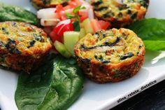 Briose cu legume | colectia de briose Spinach Stuffed Mushrooms, Energy Bars, Mushroom Recipes, Salmon Burgers, Quiche, Bacon, Deserts, Low Carb, Healthy