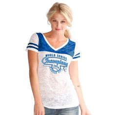Kansas City Royals Touch by Alyssa Milano Women's 2015 World Series Champions Cooperstown Collection Burnout T-Shirt - White