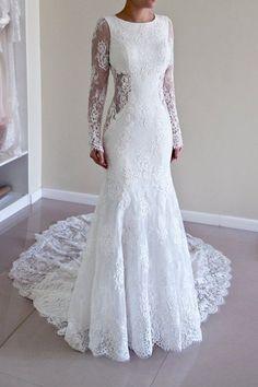 Long Sleeve Lace Backless Mermaid Wedding Dresses, 2017 Long Custom Wedding Gowns, Affordable Bridal Dresses, 17116